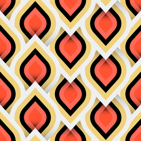 Vector geometric pattern with abstract leaf ornament in gold white red colors. Bold geometry print in art deco style with drops. Seamless background with ethnic, Arabic, Indian, Turkish, ottoman motif Illusztráció
