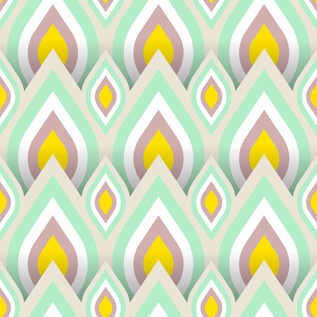 Vector geometric pattern with abstract leaf ornament in soft multiple colors. Bold geometry print in art deco style with drops. Seamless background with ethnic, Arabic, Indian, Turkish, ottoman motifs