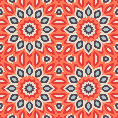 mandalas: Rich, elegant colorful pattern with big abstract flowers. Floral background with arabic, indian, moroccan, eastern ethnic motif. Geometric print with stars, mandalas and stylized leaves drawn in lines