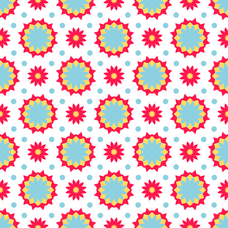 small scale: Vector ethnic colorful pattern in bright colors with small abstract flower and sun. Geometric background with Arabic, Indian, Moroccan, Aztec motifs. Bold print with stars, mandalas, triangle, polygon