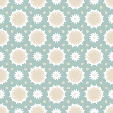 Vector ethnic colorful pattern in beige colors with small abstract flower and sun. Geometric background with Scandinavian, Nordic, Russian, Slavic motifs. Bold print with stars, triangle, polygon