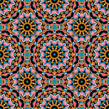 ベクトル大きな抽象花と太陽の明るい色で民族のカラフルなパターン。アラビア語、インド、モロッコ、アステカ モチーフの幾何学的な背景は。星