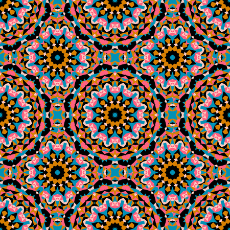 Vector ethnic colorful pattern in bright colors with big abstract flowers and suns. Geometric background with Arabic, Indian, Moroccan, Aztec motifs. Bold print with stars, mandalas, triangle, polygon Illustration