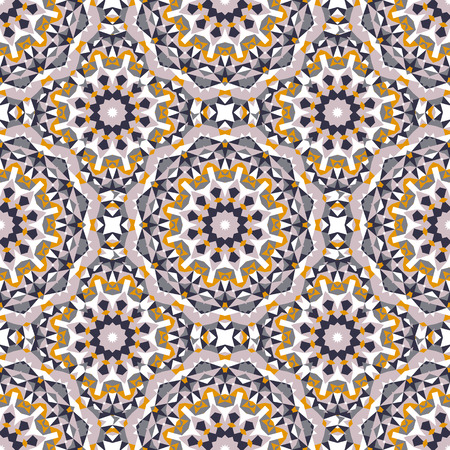 Vector ethnic colorful bohemian pattern in bright colors with big abstract flowers. Geometric background with Arabic, Indian, Moroccan, Aztec motifs. Bold print with stars, mandalas, triangle, polygon Vettoriali