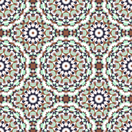 Vector ethnic colorful bohemian pattern in mint colors with big abstract flowers. Geometric background with Arabic, Indian, Moroccan, Aztec motifs. Bold print with stars, mandalas, triangle, polygon Illustration