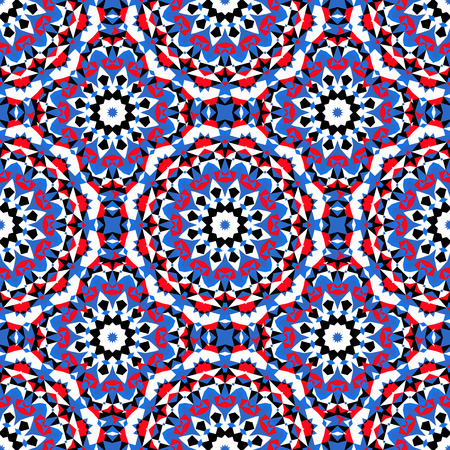 Vector ethnic colorful bohemian pattern in bright colors with big abstract flowers. Geometric background with Arabic, Indian, Moroccan, Aztec motifs. Bold print with stars, mandalas, triangle, polygon Illustration