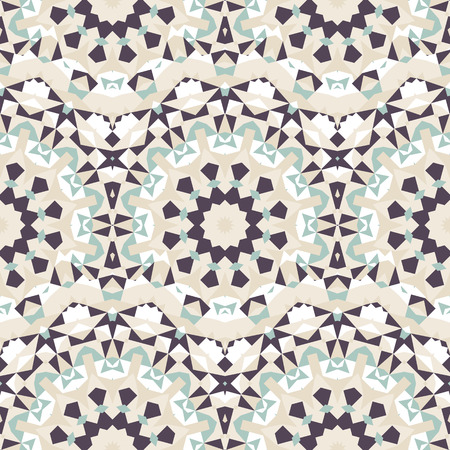 Vector ethnic colorful pattern in organic colors with abstract flowers, suns. Geometric background with Scandinavian, Nordic, Russian, Slavic motif. Bold print with stars, mandalas, triangle, polygon Illustration