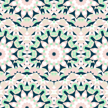 Vector ethnic colorful bohemian pattern in chic colors with abstract flowers. Geometric background with Scandinavian, Nordic, Russian, Slavic motif. Bold print with stars, mandalas, triangle, polygon Illustration