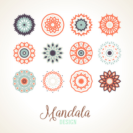 mandalas: Set of 12 vector mandalas. Bright and colorful snowflakes for Christmas decor. Winter unique bold and simple elements. Various round ornaments of small size for logo and icon design.