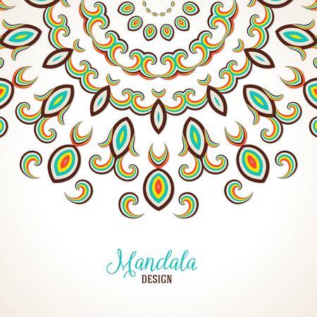 Vector illustration of big detailed mandala. Winter background for Christmas card. Concept round ornament for yoga studio, meditation, Indian, Arabic or Thai cuisine restaurants ads, tattoo salon 向量圖像