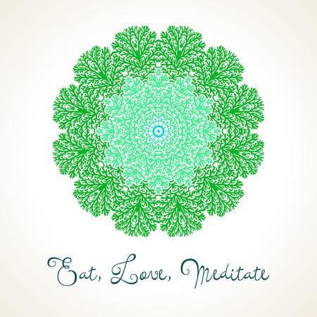thai tattoo: Vector illustration of big detailed mandala. Floral abstract background. Concept round ornament for yoga studio, meditation, Indian, Arabic or Thai cuisine restaurant, tattoo salon, wedding invitation