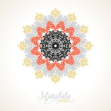 thai motifs: Vector illustration of big detailed snowflake in red, gold, silver colors. Winter background for Christmas card. Concept design of round ornamental mandala for yoga with Indian, Arabic or Thai motifs