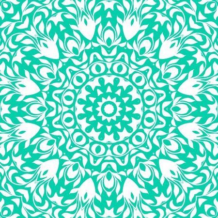thai tattoo: Vector illustration of big detailed snowflake. Winter background for Christmas card. Concept design of round ornamental mandala for yoga studio, Indian, Arabic or Thai cuisine restaurant, tattoo salon Illustration