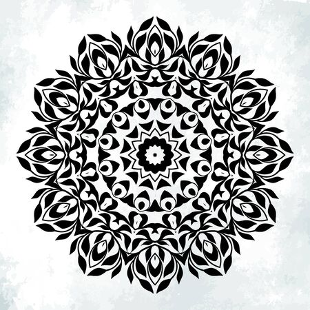 mandala: Vector illustration of big detailed mandala with swirls and curls. Floral abstract background. Concept round ornament for yoga studio, meditation, Indian, Arabic restaurant, tattoo salon, invitation Illustration
