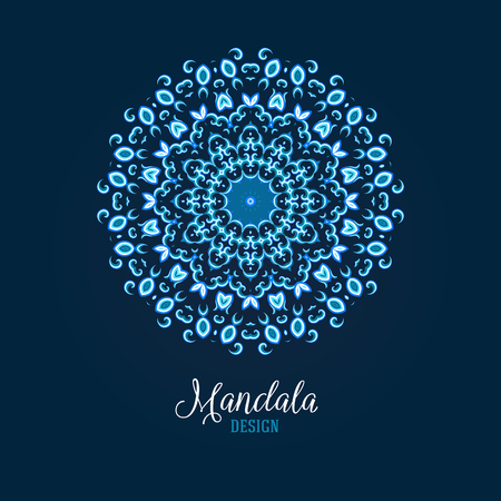 Vector illustration of glowing blue mandala. Floral abstract background. Concept round ornament for yoga studio, meditation, Indian, Arabic or Thai cuisine restaurant, tattoo salon, wedding invitation
