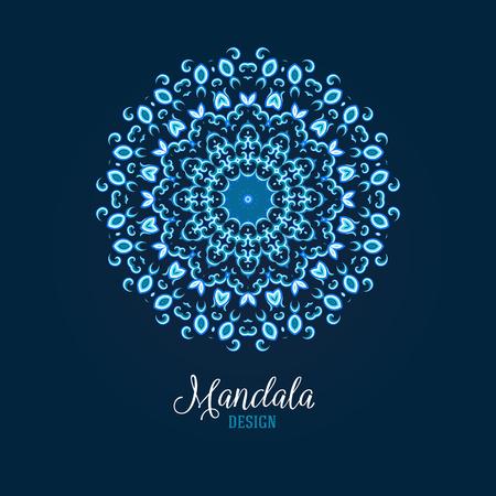 thai tattoo: Vector illustration of glowing blue mandala. Floral abstract background. Concept round ornament for yoga studio, meditation, Indian, Arabic or Thai cuisine restaurant, tattoo salon, wedding invitation