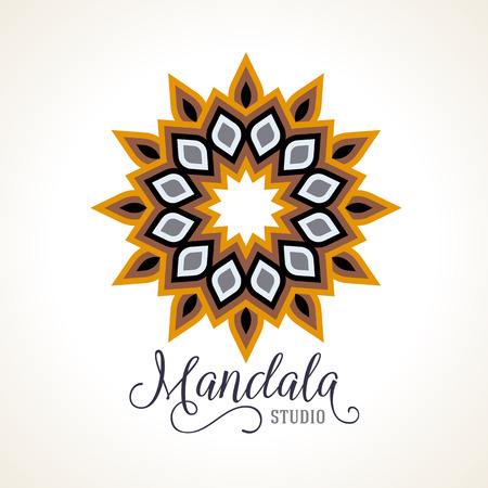 gold circle: Vector illustration of small detailed mandala. Geometric abstract background.  Concept round ornament for yoga studio, tattoo salon, meditation with Indian, Arabic, ottoman and Moroccan motifs