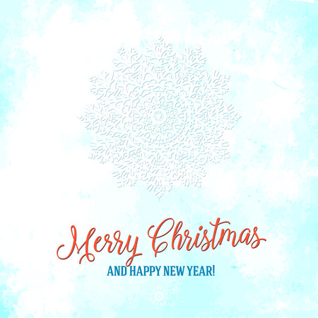 Vector illustration of a snowflake in white color with red Merry Christmas lettering. Winter background for New Year card. Bright abstract round floral ornament with Scandinavian, Nordic motifs