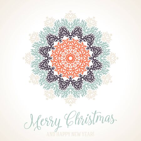 Vector illustration of a snowflake in silver blue red colors with Scandinavian, Nordic motifs. Winter background for Christmas or New Year card. Bright abstract round floral ornamental mandala Illustration