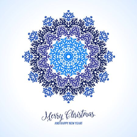 Vector illustration of a snowflake in variety of blue colors with Scandinavian, Nordic, Russian, Slavic motifs. Winter background for Christmas or New Year card. Bright abstract round floral ornament Illustration