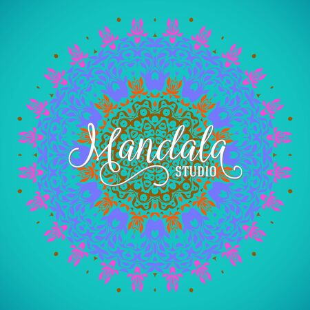 Vector illustration of big colorful mandala with swirls and curls. Floral abstract background with Indian, Arabic, Moroccan motifs. Concept round ornament for yoga studio, meditation, tattoo salon
