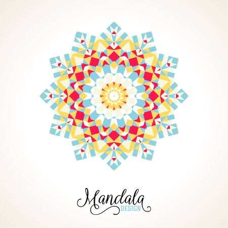 Vector illustration of a snowflake in variety of colors with Scandinavian, Nordic, Russian, Slavic motifs. Winter background for Christmas or New Year card. Bright abstract round geometric ornament