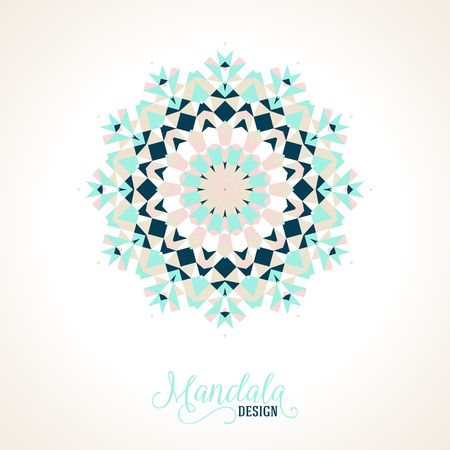 bohemian: Vector ethnic colorful bohemian round ornament in blue colors. Abstract flower, snowflake or modern mandala with stars, triangles. Geometric background with Arabic, Indian, Moroccan, Aztec motifs.