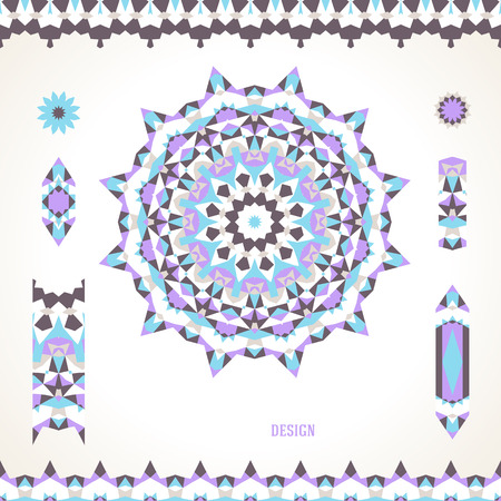 ベクトル イラスト北欧、北欧、ロシア語で様式化されたクールな色の太陽のシンボルのスラブのモチーフ。民俗民族芸術要素、抽象的な花丸飾り罫