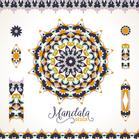 Vector ethnic colorful bohemian round ornament in natural colors with borders. Abstract flower or modern mandala with stars, triangles. Geometric background with Arabic, Indian, Moroccan, Aztec motif