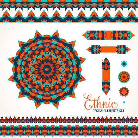 Vector illustration of sun symbol in bright native colors stylized in Scandinavian, Nordic, Russian motifs. Folk ethnic art elements, abstract flowers, round ornament, borders, lines, pattern brushes