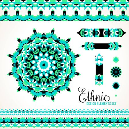 borders abstract: Vector ethnic colorful bohemian round ornament in bright colors with borders. Abstract flower or modern mandala with stars, triangles. Geometric background with Arabic, Indian, Moroccan, Aztec motif Illustration