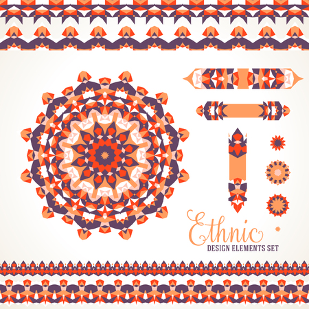 sun flowers: Vector illustration of sun symbol in red colors stylized in Scandinavian, Nordic, Russian, Slavic motifs. Folk ethnic art elements, abstract flowers, round ornament, borders, lines, pattern brushes