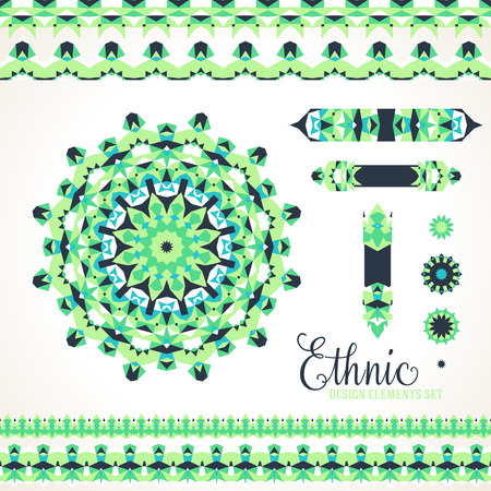 Vector ethnic colorful bohemian round ornament in green colors with borders. Abstract flower or modern mandala with stars, triangles. Geometric background with Arabic, Indian, Moroccan, Aztec motif Ilustração