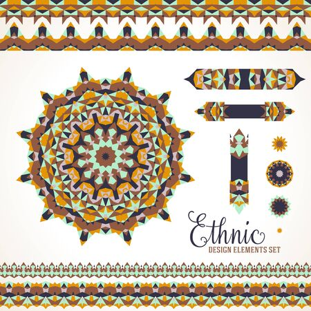 Vector ethnic colorful bohemian round ornament in brown colors with borders. Abstract flower or modern mandala with stars, triangles. Geometric background with Arabic, Indian, Moroccan, Aztec motif Vectores