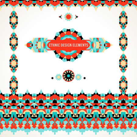borders abstract: Vector ethnic colorful set of design elements for bohemian decor in bright colors with borders, frames. Abstract flowers with stars, triangles. Geometric background with Arabic, Indian, Aztec motif Illustration