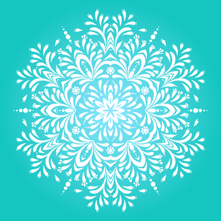 Vector illustration of big detailed snowflake. Winter background for Christmas card. Concept round ornament for yoga studio, meditation, Indian, Arabic or Thai cuisine restaurants ads, tattoo salon