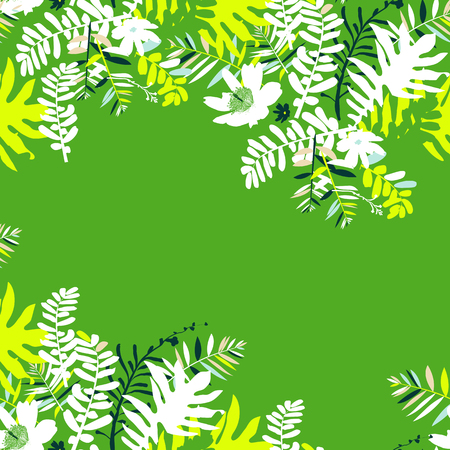 tree canopy: Vector illustration with leafs and foliage inspired by tropical nature and plants like palm tree and ferns in bright green colors. Card template with floral design, exotic flowers, leafs and branches