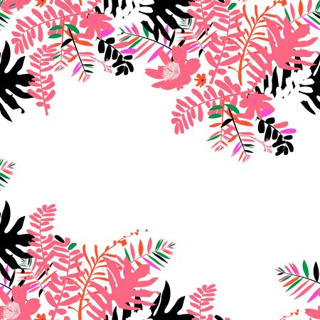 Vector illustration with leafs and foliage inspired by tropical nature and plants like palm tree and ferns in bright pink colors. Card template with floral design, exotic flowers, leafs and branches Illustration