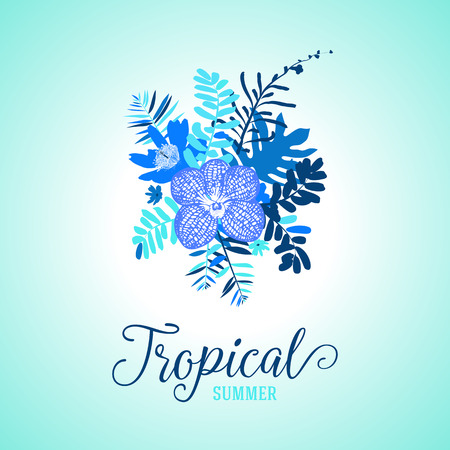 ferns and orchids: Vector illustration with leafs and foliage inspired by tropical nature and plants like orchids and ferns in multiple blue colors. Card template with floral design, exotic flowers, leafs and branches Illustration