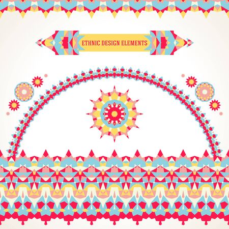 Vector illustration of sun symbol in bright colors stylized in Scandinavian, Nordic, Russian, Slavic motifs. Folk ethnic art elements, abstract flowers, round ornament, borders, lines, pattern brushes