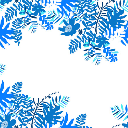 Vector illustration with leafs and foliage inspired by tropical nature and plants like palm tree and ferns in multiple blue colors. Card template with floral design, exotic flowers, leafs and branches 向量圖像
