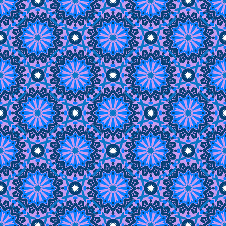 circles pattern: Vector seamless pattern with big abstract flowers in bright blue, purple colors. Vintage style background with flourish decor. Bold print with floral circles, dots and stars with ethic, indian motifs