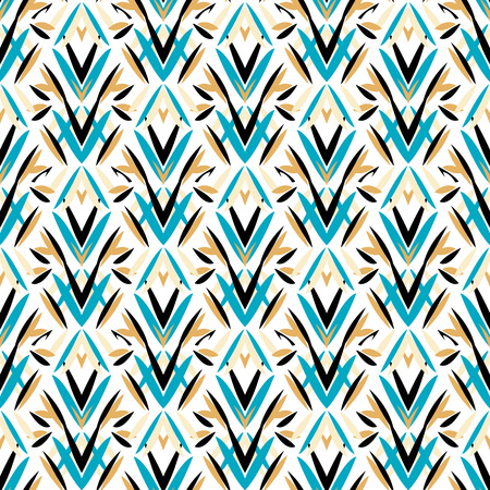 Vector art deco pattern with floral motifs 1920s fashion style. Simple, chic and elegant print with geometric decor from roaring twenties for wedding invitation background in white, black, blue, gold
