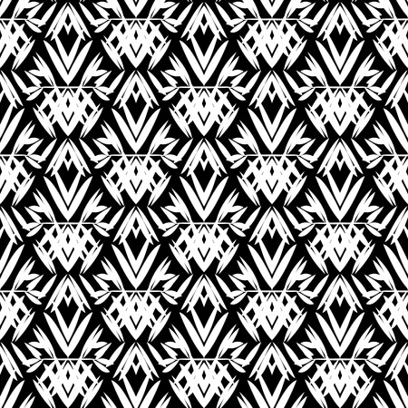 twenties: Vector art deco pattern with floral motifs 1920s fashion style. Simple, chic and elegant print with geometric decor from roaring twenties for wedding invitation background in white and black Illustration