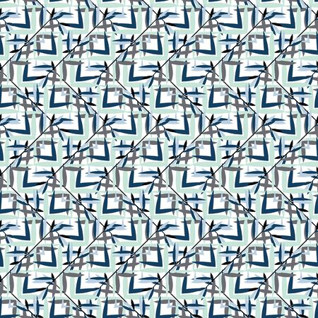 Vector seamless pattern with asian and eastern motifs, bamboo leaves and shoots. Vintage textile for fashion design. Retro background in 1960s style with geometric shapes, checks, crossing lines