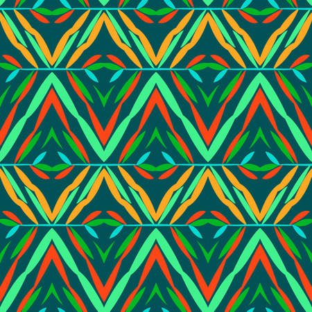 tibet: Vector seamless geometric pattern with ethnic and tribal motif. Bright bold print with chevrons, zig zag, line and stripe in native embroidery style. Hand drawn colorful red, green, orange background