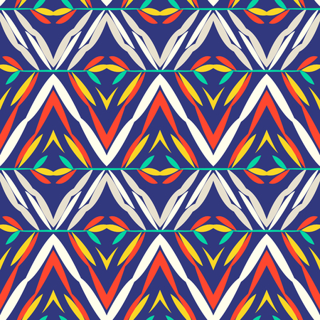 tibet: Vector seamless geometric pattern with ethnic and tribal motif. Bright bold print with chevrons, zig zag, line and stripe in native embroidery style. Hand drawn colorful red, blue, white background Illustration