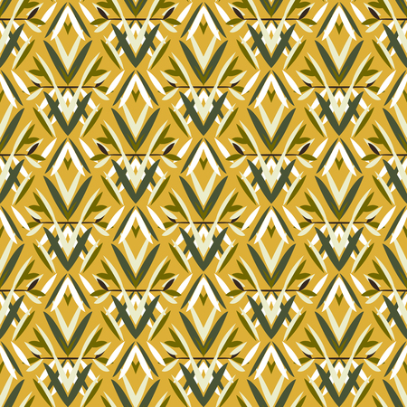 wedding decor: Vector art deco pattern with floral motifs 1920s fashion style. Simple, chic and elegant print with geometric decor from roaring twenties for wedding invitation background in white, yellow, gold Illustration