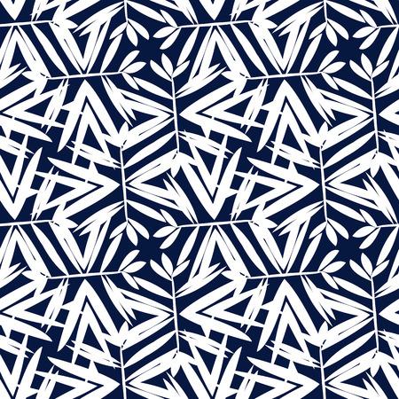 fondo blanco y negro: Modelo geométrico del vector con motivos florales, que giran de palma o de las hojas de bambú. de fondo sin fisuras en el estilo vintage de los años 1960 en color blanco y negro. impresión textil viejo de la manera en estilo art deco