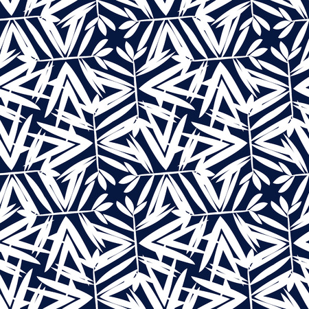 Vector geometrisch patroon met bloemenmotieven, roterende palm of bamboe bladeren. Naadloze achtergrond in vintage stijl van de jaren 1960 in zwart-witte kleur. Ouderwetse textiel print in art deco-stijl